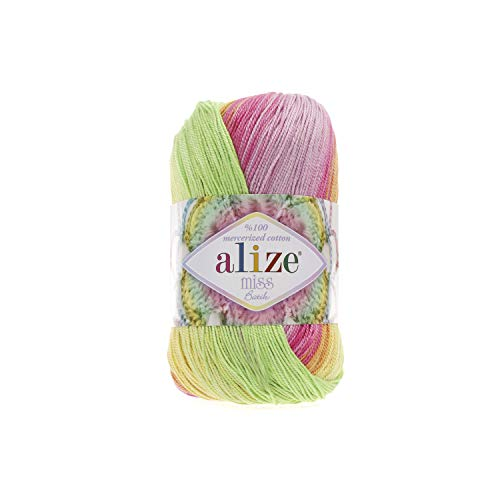 (100% Mercerized Cotton Yarn Alize Miss Batik Thread Crochet Lace Hand Knitting Craft Art Lot of 4skn 200gr Color Gradient 3715)