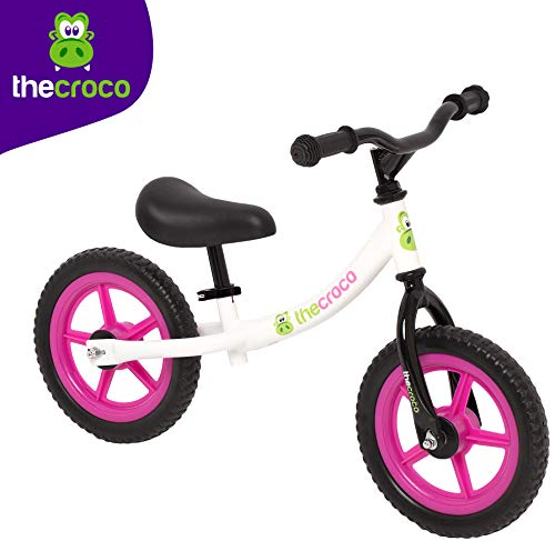 TheCroco Lightweight Balance Bike for Toddlers and Kids (White/Pink)
