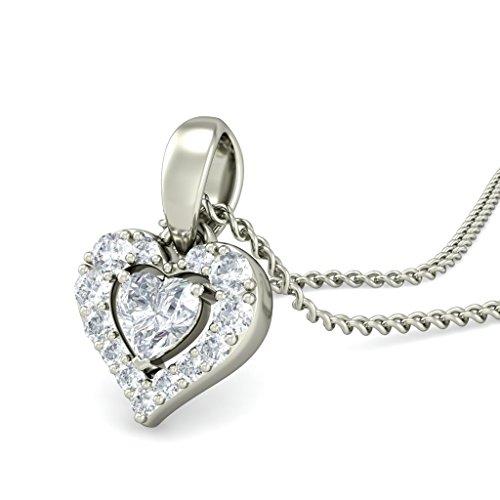 18K Or Blanc 0,22CT TW Round-cut-diamond (IJ   SI) Amour Pendentif