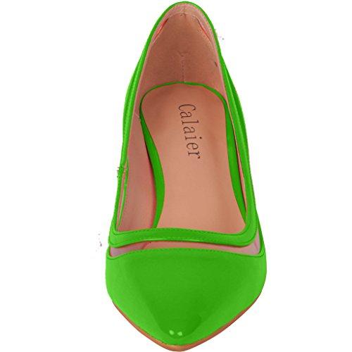 Calaier Donna Esperienza Scarpe Décolleté Stiletto Chiuse 9,5 Cm Verde