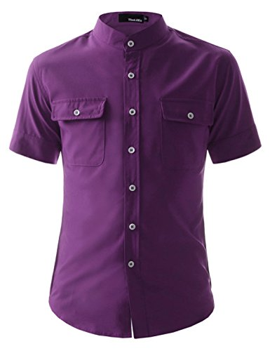 (N340S) Mens Slim Fit Stretchy Short Sleeve China Collar Wrinkle Free Shirts