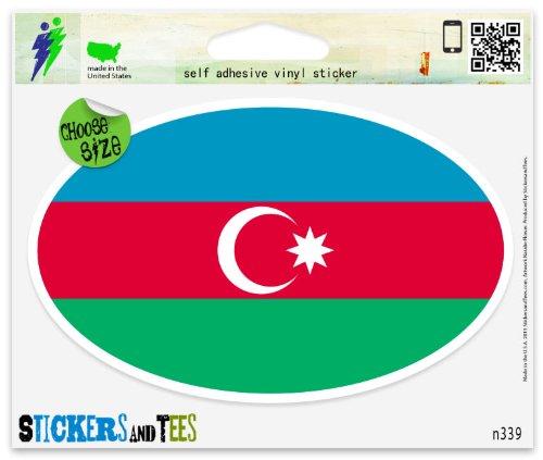 "Azerbaijan Flag oval Car Sticker Indoor Outdoor 5"" x 3"""