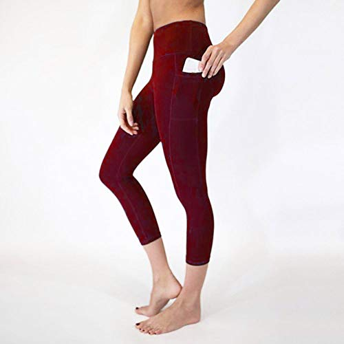 CapsA Tummy Control High Waist Short Leggings with Pockets for Women Workout Out Pocket Leggings Fitness Sports Gym Running Yoga Athletic Pants