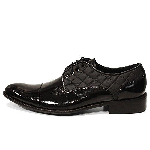 Modello Quilti - Handmade Italiano Da Uomo In Pelle Nero Scarpe da sera - Vacchetta Pelle di brevetto - Allacciare