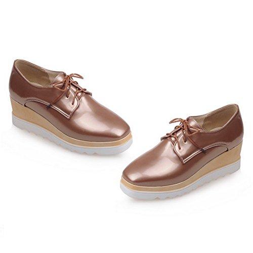 Balamasa Filles Bandage Couleur Correspondant Fond Épais Talon Plate-forme En Cuir Verni Pompes-chaussures Or