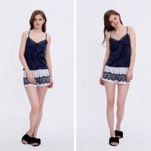 MH-RITA Eslinga de nuevo pijama de verano femenina dulce temperamento encantador Raya Lace Shorts Home TRAJE TRAJE DE VERANO L (120~140 lb) S (80~100 lb)