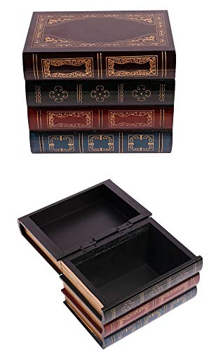 Royal Brands Decorative Wooden Book Box Faux Book, Box Hidden Safe Box, Secret Book Box for Storing Money Jewelry Keys Keepsakes Trinkets Collectibles Valuables (Small)