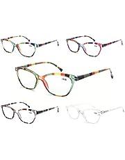 MODFANS Leesbril Vrouwen 5 Pack Mode Dames Lezers voor Lezen Comfort Spring Scharnier Lichtgewicht Cat-Eye Frame Stijlvolle Look, Kom met Pouch