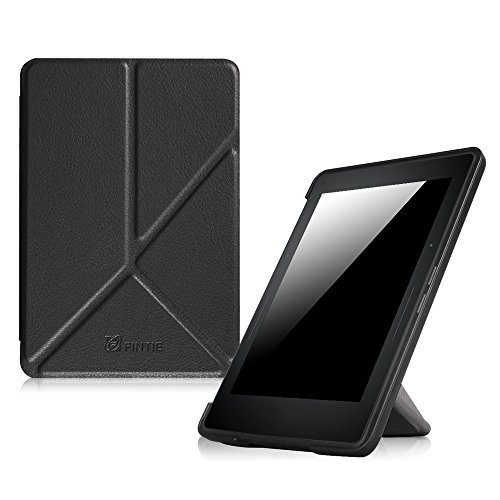 Fintie Origami Case for Kindle Voyage - The Thinnest and Lightest PU Leather Cover for Amazon Kindle Voyage (will only fit Kindle Voyage 2014), Black