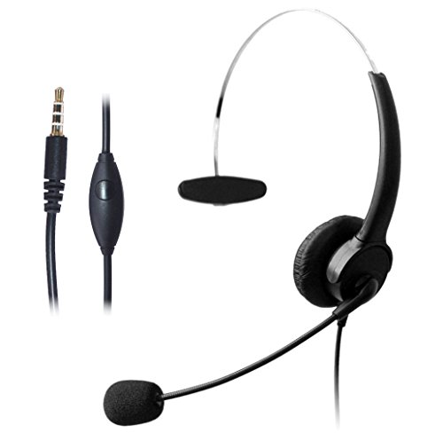 Wantek Wired Mobile Phone Headset with Flexible Noise Canceling Mic + Adjustable Headband for iPhone Samsung HTC LG BlackBerry Huawei Cell Phone & Most Android Phones with 3.5mm Jack(510P1J35)