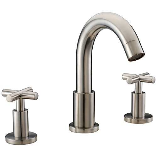 Nickel Brushed Centers 3 - Dawn AB03 1513BN 3-Hole Widespread Lavatory Faucet with Cross Handles for 8