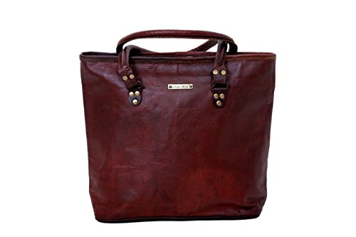 Handmade Genuine Leather Woman Tote Bag Large Ladies Carry All Bag (Recycled Weekend Bag)