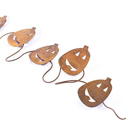 Factory Direct Craft Set of 3 Rusted Metal Jack O'Lantern Pumpkin Garlands (Total of 18 Feet)