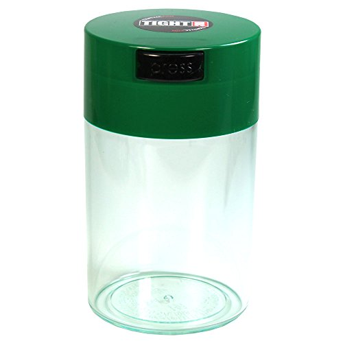 Tightvac - 1 oz to 6 ounce Airtight Multi-Use Vacuum Seal Portable Storage Container for Dry Goods, Food, and Herbs - Dark Green Cap & Clear Body (Box Airtight Cigar)