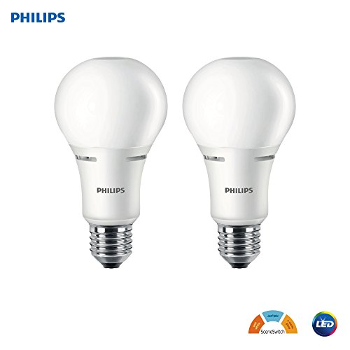 Philips LED A21 SceneSwitch Color Change Light Bulb: Daylight/Soft White/Warm Glow (100-Watt Equivalent), E26 Base, 2-Pack