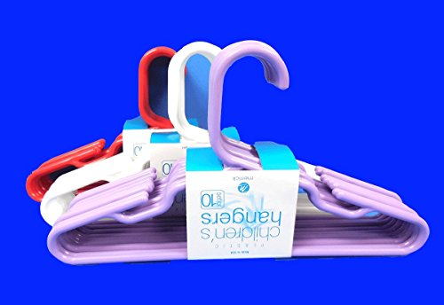 "Set of 30 Children Plastic Hanger Assorted Colors,White, Red,Light Purple,Dark Blue, Kids Tubular Hangers 11.5"" Wide, USA Made"