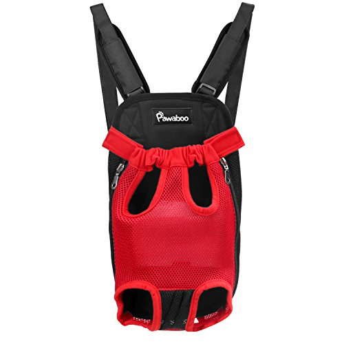 PAWABOO Pet Carrier Backpack, Adjustable Pet Front Cat Dog Carrier Backpack Travel Bag with Sponge Padding Shoulder Straps, Legs Out, Easy-Fit for Traveling Hiking Camping, Small Size, RED