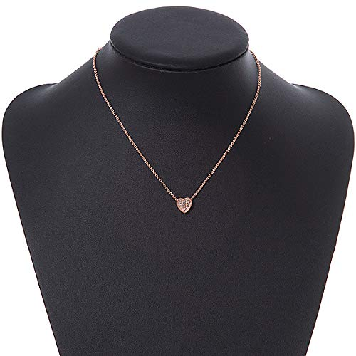 Avalaya Delicate Small Crystal Heart Pendant with Rose Gold Tone Chain 39cm L// 5cm Ext