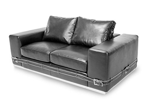 Michael Amini Ciras Leather Loveseat, Black/Stainless Steel