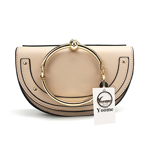 Yoome Elegant Rivets Punk Style Circular Ring Handle Handbags Cute Lune Satchel Round Bracelet Wristlet Crossbody Bags For Girls - Beige.lune - Upgraded Version by Yoome