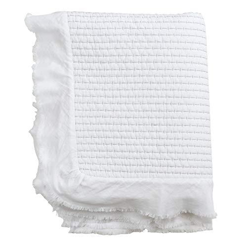 SARO LIFESTYLE Sevan Collection Quilted Ruffle Trim Throw, White