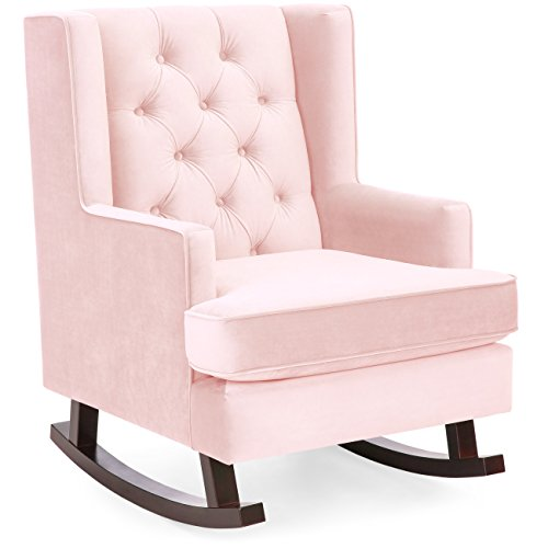Best Choice Products Tufted Upholstered Wingback Rocking Accent Chair Rocker for Living Room, Bedroom w/Wood Frame - Blush Pink