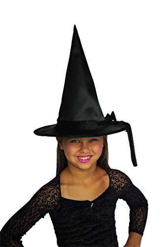 [Rubie's Costume Black Satin Hat with Black Band Costume] (Girls Light Up Witch Costume)