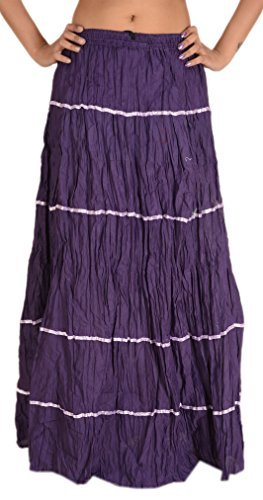 SNS Women New Long Skirt Embroidered Cotton Solid Gypsy Full Length (Purple)