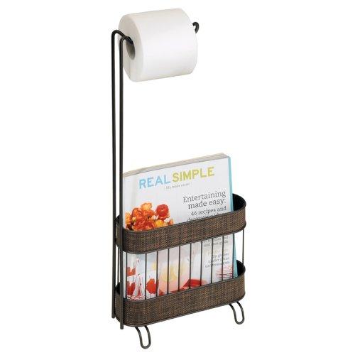 InterDesign Twillo Free Standing Toilet Paper Holder and Newspaper and Magazine Rack for Bathroom - Bronze - Newspaper Magazine