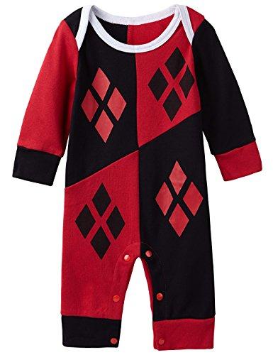 A&J Design Baby-Girls Infant Toddler Cotton Harley Quinn Romper Jumpsuit (12-18m) (Harley Quinn Children)