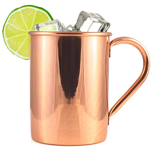 Copper Mug for Moscow Mule - Straight Smooth Finish Copper Drinking Mug – Solid 100% Pure Copper - 16 oz - Heavy Gauge, No Lining, Welded Handle by Artisan's Anvil by Artisan's Anvil