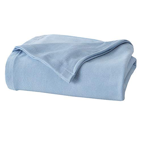 Premium Cotton Blanket. Soft, Cozy, Breathable and Ideal for Layering Any Bed. Lyla Collection. (Full/Queen, Blue)