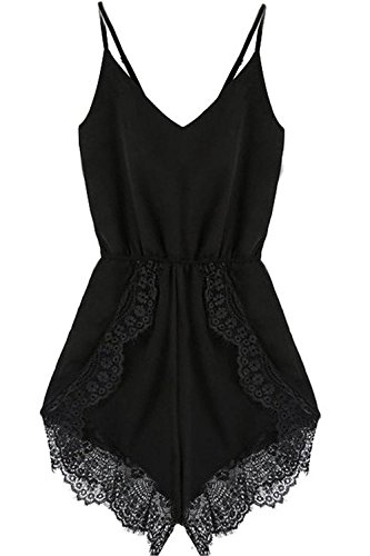 FACE N FACE Women's Lace Chiffon Sleeveless Jumpsuit Rompers Large Black by FACE N FACE (Image #1)