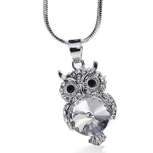 Orcbee  _Fashion Trend Little Cute Owl Crystal Snake Chain Pendant Necklace Jewelry (Silver)