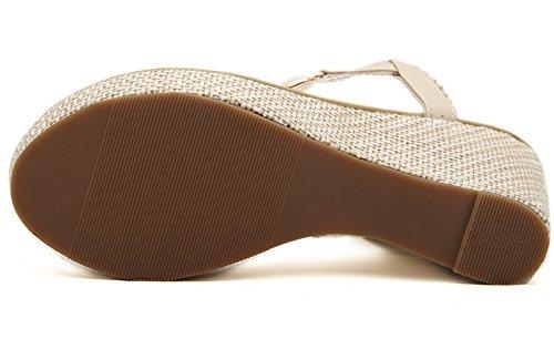 Bigtree Beige Brillant Compensé Bohème Perle Été Plage Sandales Tongs Talon Femmes Haut De x0r7qwAIS7
