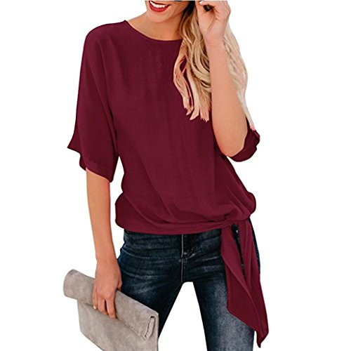 Toimoth Womens Casual Basic Knot Tie Front Loose Fit Half Sleeve Tee Top T-Shirt Blouse(Wine Red,S) ()