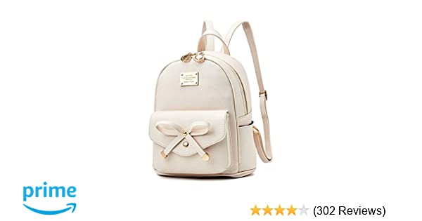 7afcf570bd Amazon.com  Girls Bowknot Cute Leather Backpack Mini Backpack Purse for  Women  Shoes
