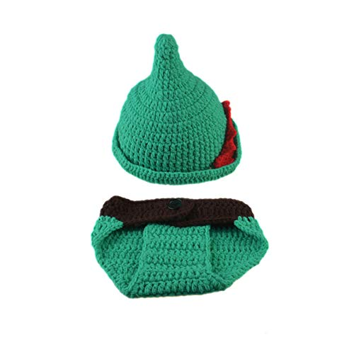 Infant Baby Photography Props Crochet Costume Outfits Green Hat+Green Pant for 0-5 Months Newborn Baby Boy Girl