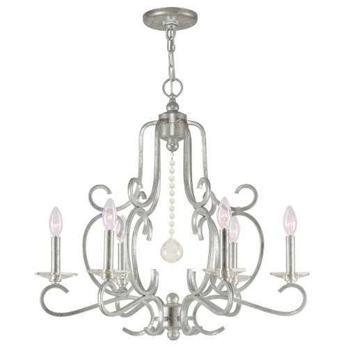 Crystorama 9346-OS Traditional Six Light Chandeliers from Orleans collection in Pwt, Nckl, B/S, Slvr.finish,