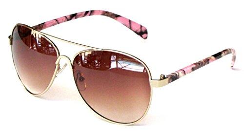 Women's Polarized Camouflage Sunglasses Aviator – Pink Camo Frame Amber - Frames Pink Glasses Camo