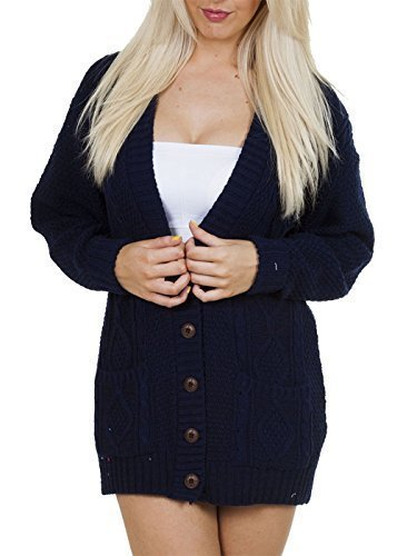 PurpleHanger Women's Long Sleeve Cable Knit Chunky Cardigan Navy Blue (Blue Cable Knit Sweater)