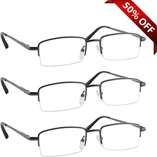 Reading Glasses _ Best 3 Pack Gunmetal for Men and Women _ Have a Stylish Look and Crystal Clear Vision When You Need It! _ Comfort Spring Arms & Dura-Tight - For Eyeglasses Oval Best Face