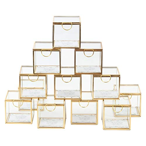 (Koyal Wholesale Display Glass Boxes Hinged Lids, Bulk Set of 12 Wedding Escort Cards, 3 Inch Party Favors, Gold Jewelry Holder Square Cube Glass Display Cases)