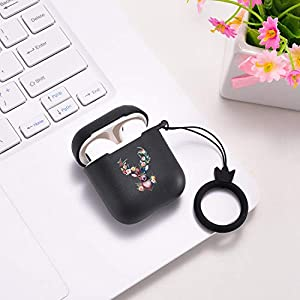 LuGeKe Airpods Case with Keychain,Elk Deer PatternCasewithFull Protective Soft Silicone,Shockproof Apple Airpods 1&2 Case Cover for Girls Boys Women Menwith Wireless Charging-Black