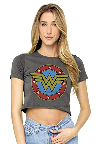 Wonder Woman Vintage Logo Juniors Teen Girls Crop Top T Shirt & Stickers (Medium) Charcoal ()