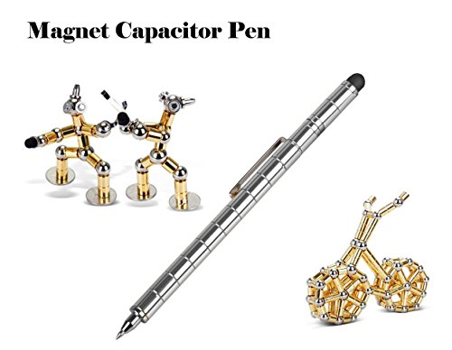 Kaufen buy Kaufen Fidget Magnetic Metal Pen, Stylus Pen for iPhone X iPad Mini Samsung Office Stress Reducer Relief Toys with Gift Pen Box (Silver) ()