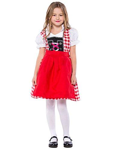 Full Win Women Girls Mother Daughter Halloween Costume Red White Plaid Beer Garden Cutie -