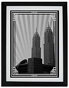 Al Kazim Towers Metro - Black And White With Silver Border No Text F06-m (a5) - Framed