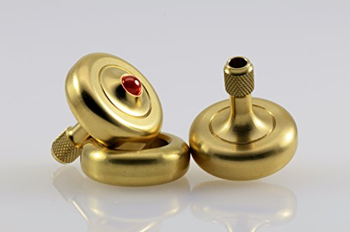 Lambda Solid Brass, Ruby Tipped Spinning Top