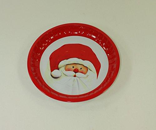 2 Stück GEBÄCKTELLER - SANTA - 25 cm, Metall, Weihnachtsteller Weihnachtskopf Santaclaus Gebäckschalen Knabberteller Weihnachtsmannmütze Weihnachtsfeier Santa Claus Nikolausmütze Zipfelmütze